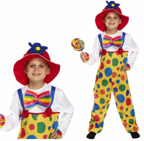 BOYS CLOWN FANCY DRESS COSTUME CIRCUS CARNIVAL CHILDS OUTFIT KIDS NEW BOY