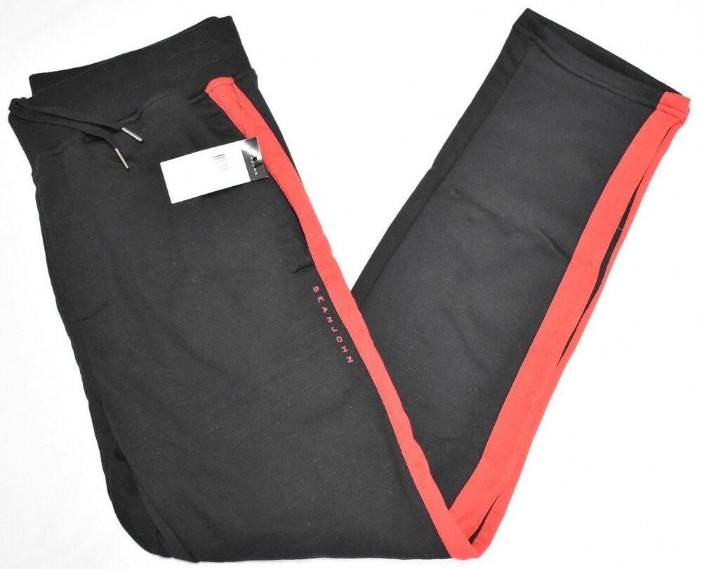 $59 Neuf Avec étiquettes Pour Homme Sean John Côté Rayure Pantalon De Survêtement Bas Jogging Noir Rouge Urban N640