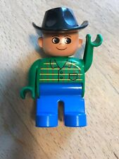 1x Lego Duplo Figur Mann Hose blau Jacke grün Kopf braun Haare schwarz 4555pb179