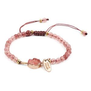 Minimalist bracelet with metal hexagonal charm Red rope bracelet Adjustable red cotton bracelet for women