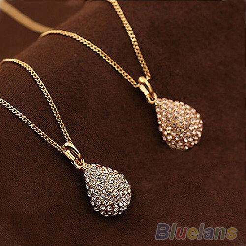 Classic Women Gold Plated Silver Plated Crystal Teardrop Necklace Shiny Pendant