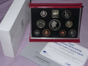 1999 ROYAL MINT DELUXE PROOF SET - Full Packaging - Scarce Scottish £1