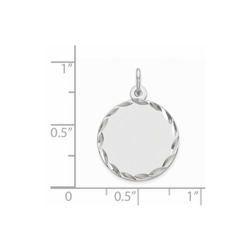 .925 Argent sterling sertis Round Disc Charm Pendentif PDSF $50