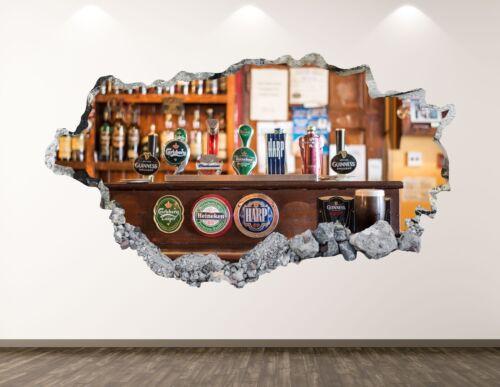 Beer Bar Wall Decal Art Decor 3D Smashed Man Cave Kids Room Mural Sticker BL154