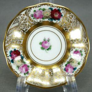 Furstenberg Dresden Hand Painted Pink White Rose & Gold Floral Demitasse Saucer