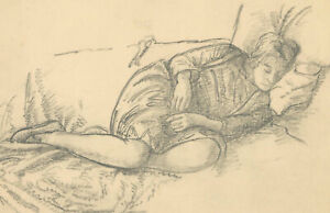 Harold-Hope-Read-1881-1959-Graphite-Drawing-Study-of-Hilda-on-Blankets