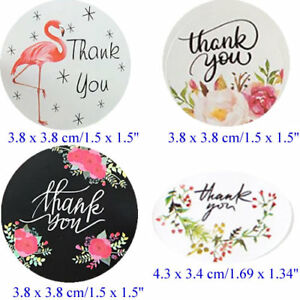 480 x Thank You Sticker/Floral flamingo label seal/4 Design/Gift mail Cookie Jar