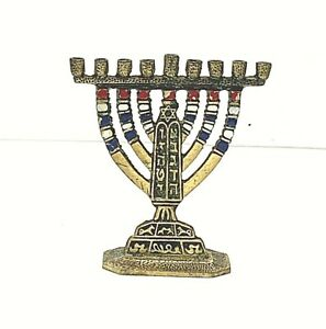 Vintage-Handcrafted-Small-4-034-Brass-Enameled-Menorah-Made-in-Israel-Signed-Tamar