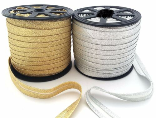bias binding tape 1I 2cm wide sparkle silver /& gold