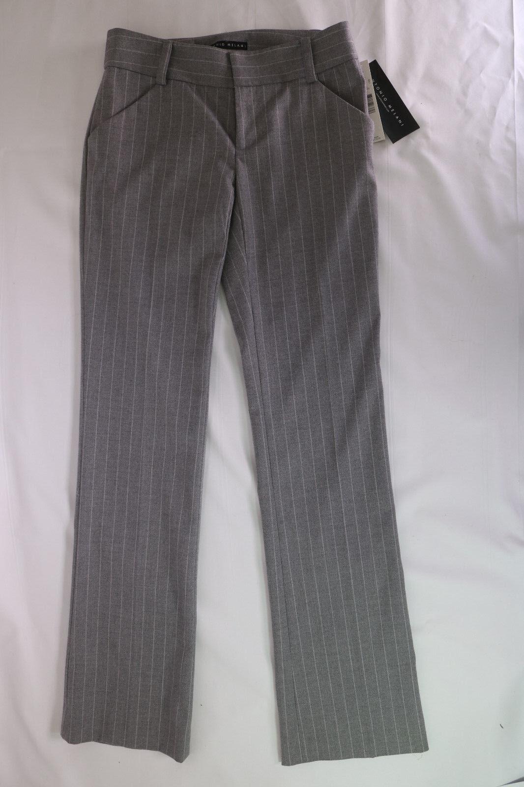 Antonio Melani Coco Pants Striped Charcoal Fit amd Flare Leg Size 0 New NWT  119