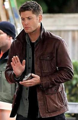 Men/'s Distressed Supernatural Season 7 Genuine Leather Jacket//Coat