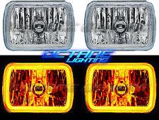 "7X6"" Plasma Amber COB LED Glass/Metal Headlight Halogen Light Bulb Headlamp Pair"