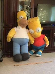 Image Is Loading Homer And Bart Simpson Rare 4 Foot Tall