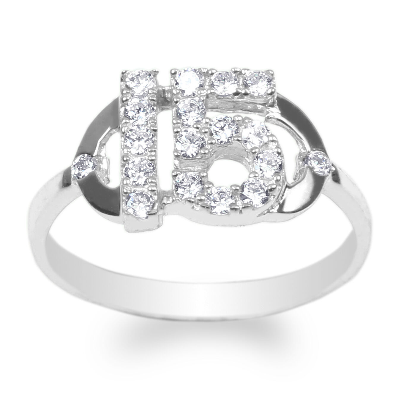 JamesJenny 10K White gold Round CZ Embedded 15 Anos Quinceanera Ring Size 4-10