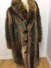 """Vintage GENUINE RACCOON FUR COAT FOR MEN LENGTH 42"""" Sz.XXL (50) n232"""