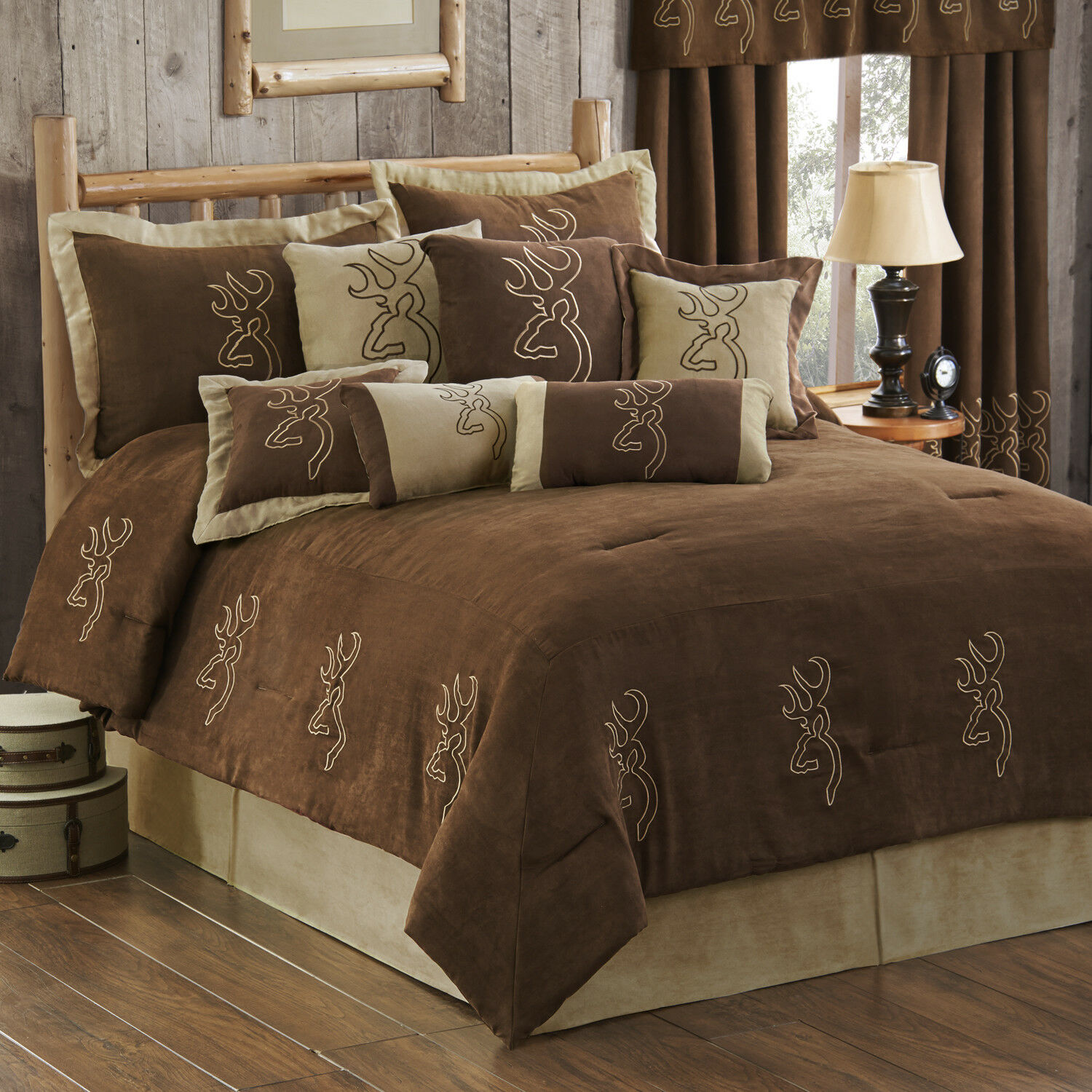 4 Decorative brauning Suede Bed Collection Pillows Add Drapery Panels & Valance