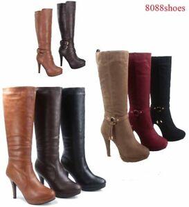 Women-039-s-Causal-Dress-Knee-High-Platform-High-Heel-Boots-Shoes-size-5-10-NEW