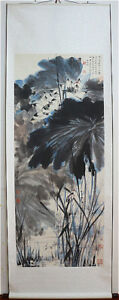 Excellent-Chinese-Hand-Painting-amp-Scroll-Lotus-amp-Animals-By-Zhang-Daqian-PV8