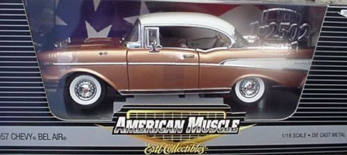 1 18 ERTL 1957 Chevy Bel Air Sierra gold-Rarity