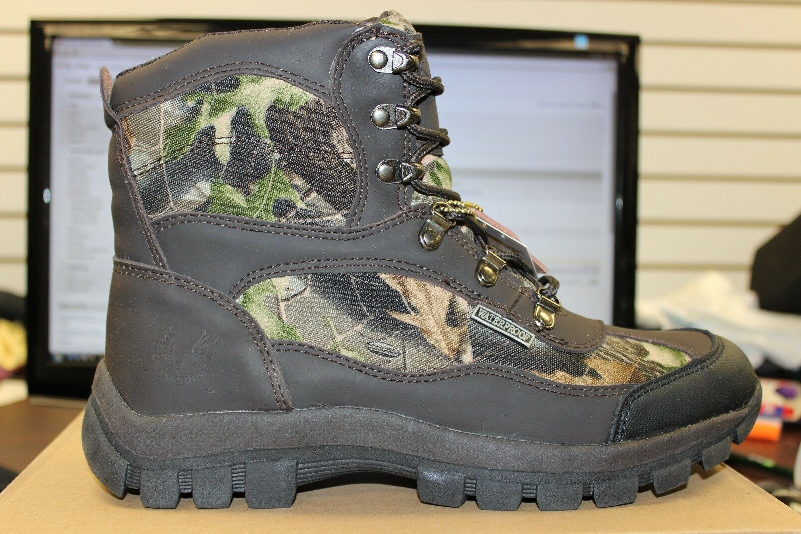 Mens Kingshow Brown Camo Work Boots Insulated Stylish New in Box