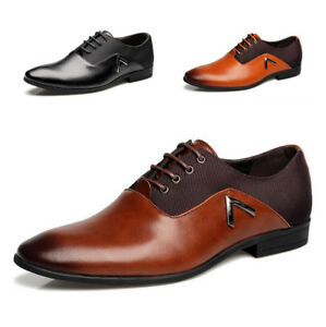 Homme-Chaussure-Cuir-Mode-Habillees-a-Lacets-Richelieu-Formelle-Bout-Pointu