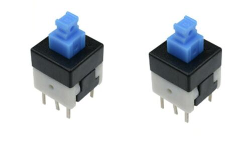 PCB etc 2pcs 6 Pin Latching Square Blue cap Button Switch self locking 8x8mm 1A