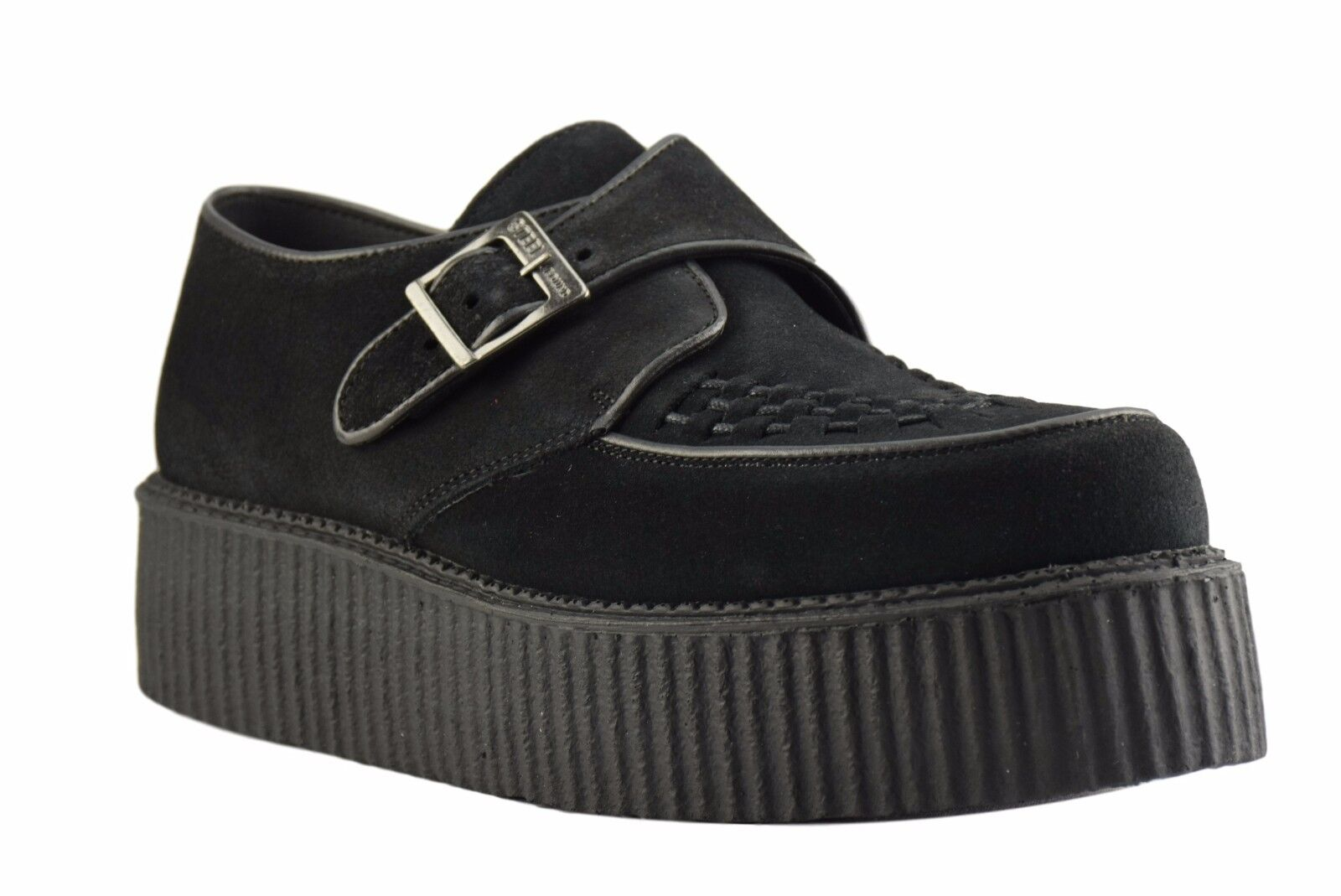 Steel Ground Shoes Black Suede Creepers High Sole Buckle Casual Rock Sc301Z4
