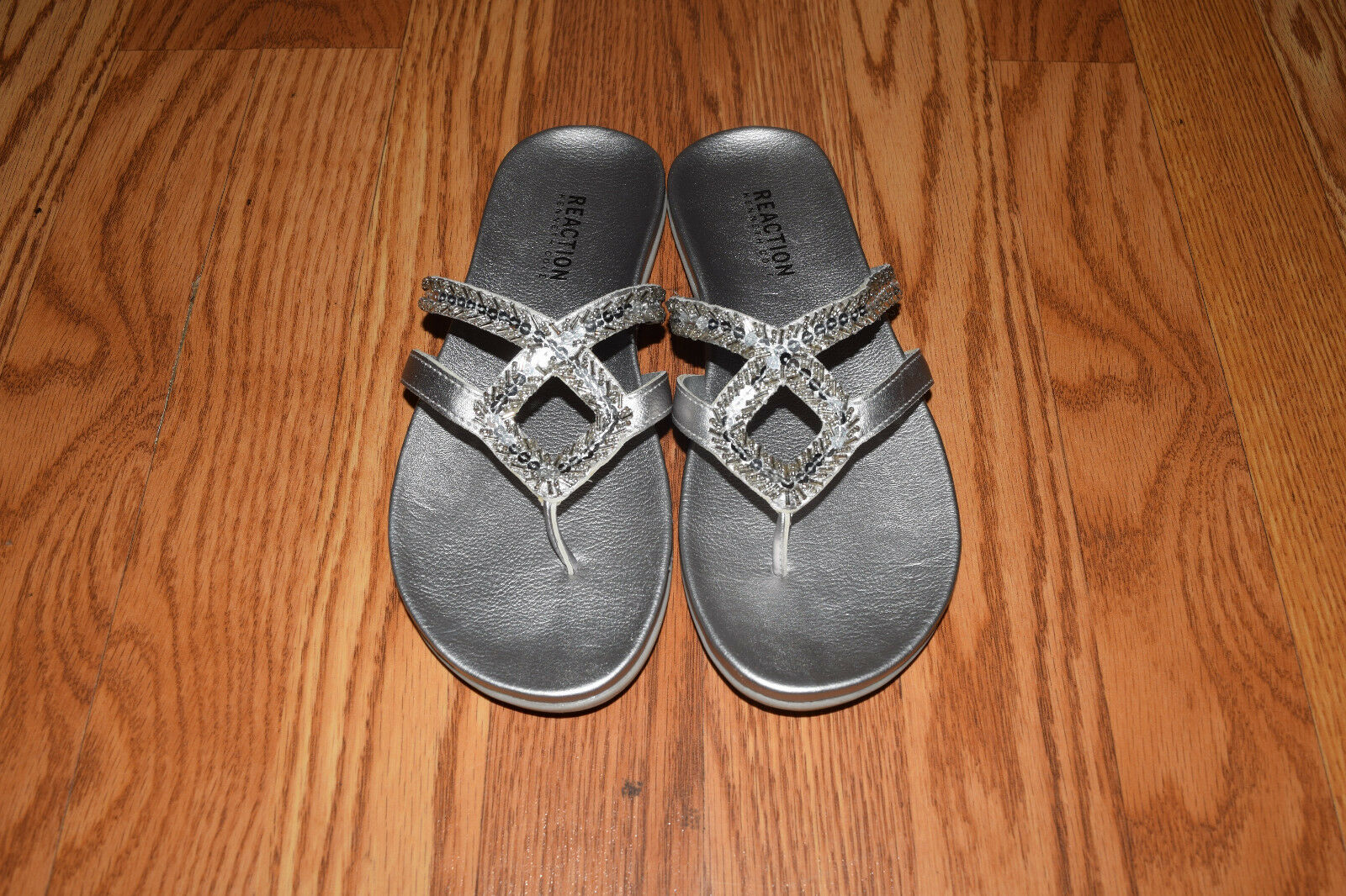 NEW Womens KENNETH Shoes COLE REACTION Silver Jewel 2 Sandals Shoes KENNETH Sz 9 e95714