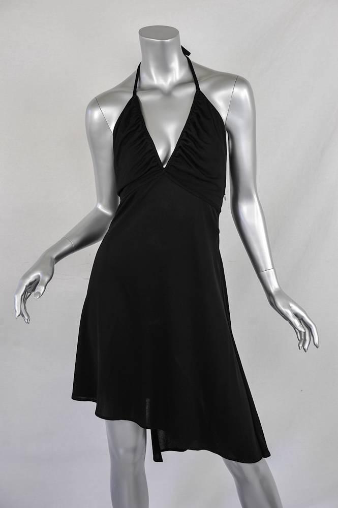 Costume National Damen Schwarz Nackenband Nackenband Nackenband V-Ausschnitt Offener Rücken 0d91d9