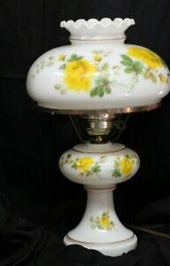 Vintage-Parlor-Lamp-Hurricane-Shade-Hand-Painted-Ceramic-Shade-Yellow-Rose-19-034