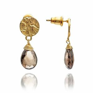Azuni-Jewellery-Athena-Princess-Kate-Gold-Gemstone-Drop-Earrings-Smoky-Quartz