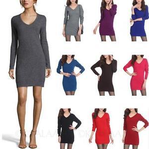 kala-womens-cashmere-Casual-V-Neck-Mini-Party-Unisex-Dress-Comfy-Sweater-Size