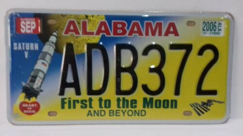 MATRICULA AMERICANA PLATE REPLICA ALABAMA ADB372 FIRST TO THE MOON