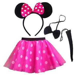 NEW-Ladies-Pink-MINNIE-Mouse-Costume-Fancy-Dress-Accessory-Set-Ears-Tail-HEN-DO