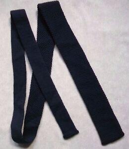 Agressif Vintage Cravate Homme Cravate Bout Plat Tricot 1970 S Bleu Marine-afficher Le Titre D'origine Belle Qualité