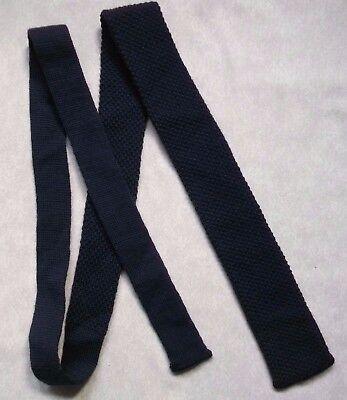 Collezione Qui Vintage Cravatta Da Uomo Cravatta Piatto Fine Lavorato A Maglia Blu Scuro 1970s- Prezzo Ragionevole