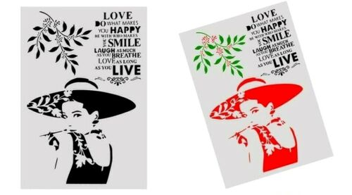 A4 Lady Love Quote Sentiment  Stencil Durable Furniture Wall Craft  29 x 21 cm