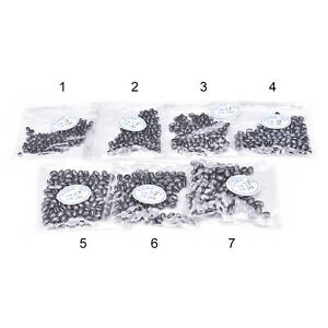 100pcs-Fishing-Egg-Bullet-Rig-Sinkers-Angling-Lead-Weight-Split-Shot-Oval-X-TI