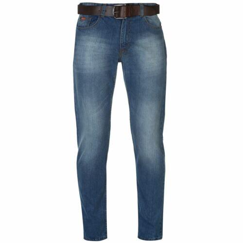 Lee Cooper Homme Ceinture Jeans Coupe Droite Pantalon Pantalon De Coton Zip