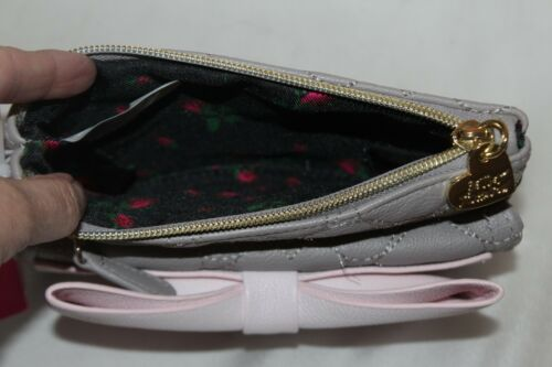 BETSEY JOHNSON Gray Pink Ready Set Bow Faux Leather Zip Clutch Wristlet $65 NEW