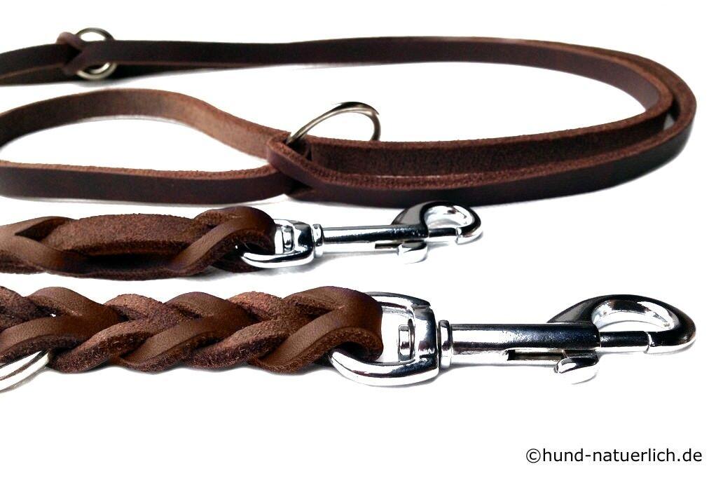 Lederleine verstellbar braun braun braun geflochten, Chrom 2,40m Hundeleine aus Fettleder  | Ausgezeichnet  e4b0dc