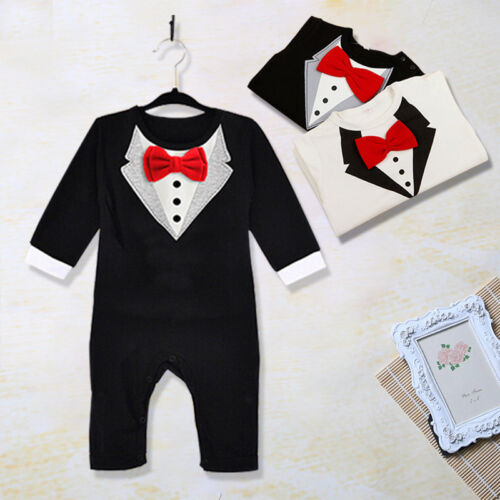 Kids Baby Boys Toddler Gentleman Suit Romper Jumpsuit Bodysuit Clothes Outfit US