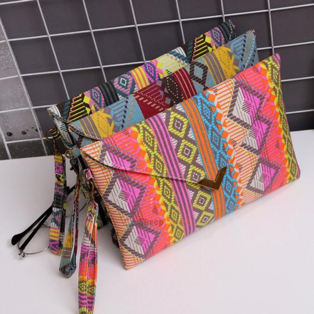 Boho Women's Retro Ethnic Embroidered Wristlet Clutch Bag Handmade Purse Wallet