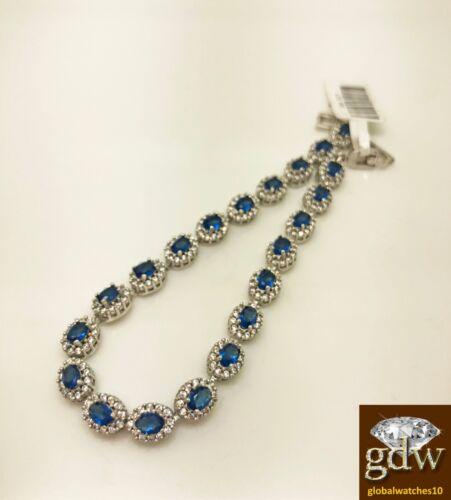 cadeau N Cristaux 8 in Véritable 925 Argent Sterling Femme Bracelet Saphir Bleu environ 20.32 cm