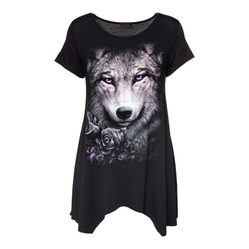 Spiral Direct Wolf Roses Gothic Womens Black Purple Casual Smock Top//Tunic
