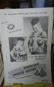 Vtg-Mary-Maxim-knitting-pattern-450-Reindeer-cardigan-childs-sz-8-12