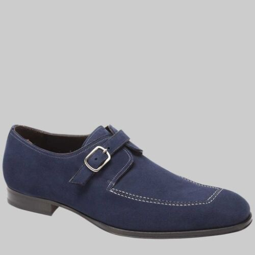 NIB Mens Mezlan Gomera Suede Monkstrap Shoes in Blue