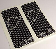 2x CARBON Nurburgring Track Car Gel 3D Licence Number Plate Side Badge Stickers