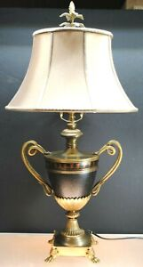 RARE VINTAGE FINE ART LAMP CO. BRASS TROPHY STYLE LAMP WITH ORIGINAL SHADE