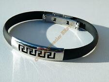 Bracelet Acier Inox Tribal Celte Caoutchouc Noir Souple
